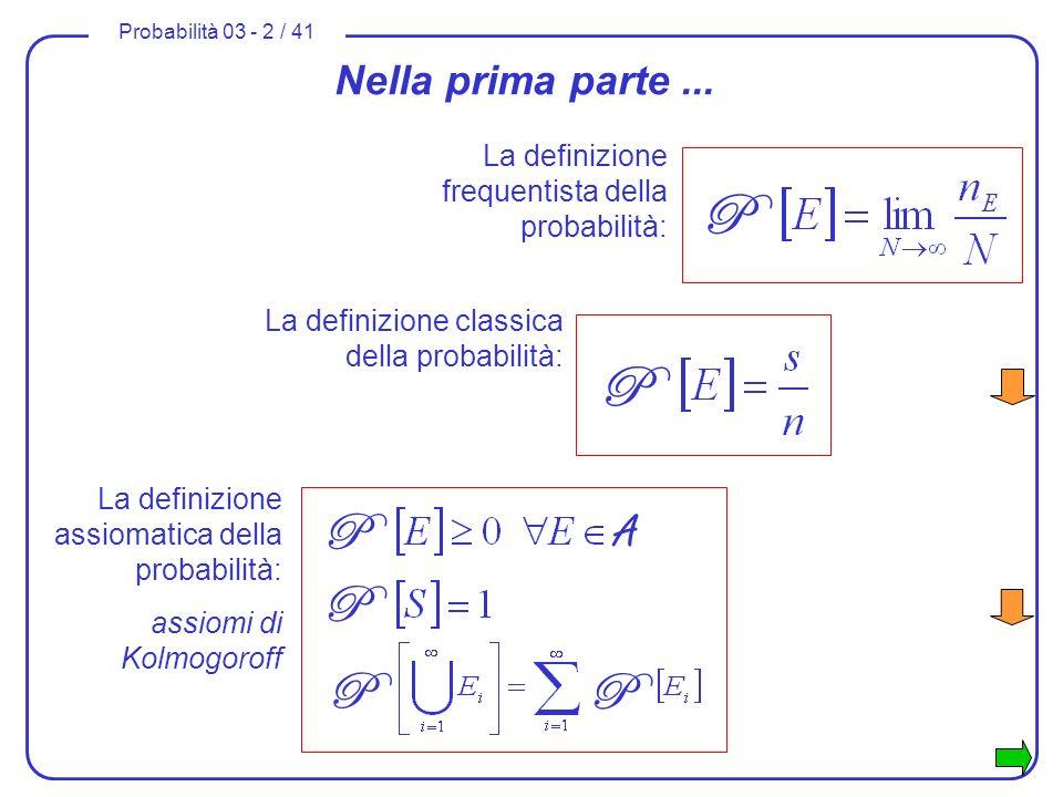 Probabilità 03 - 2 / 41 Nella prima parte... La definizione classica della probabilità: P La definizione frequentista della probabilità: P La definizi