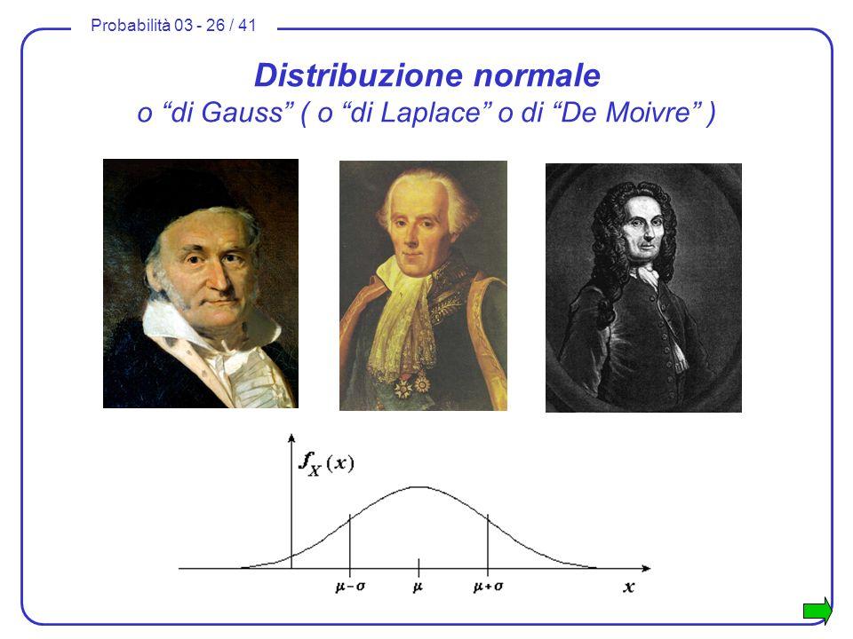 Probabilità 03 - 26 / 41 Distribuzione normale o di Gauss ( o di Laplace o di De Moivre )