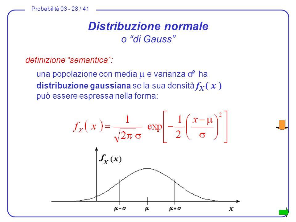 Probabilità 03 - 28 / 41 Distribuzione normale o di Gauss definizione semantica: una popolazione con media e varianza 2 ha distribuzione gaussiana se