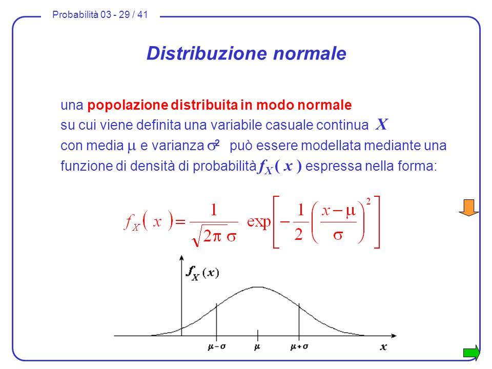 Probabilità 03 - 29 / 41 Distribuzione normale una popolazione distribuita in modo normale su cui viene definita una variabile casuale continua X con