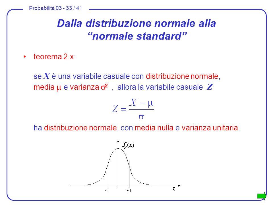 Probabilità 03 - 33 / 41 Dalla distribuzione normale alla normale standard teorema 2.x: se X è una variabile casuale con distribuzione normale, media