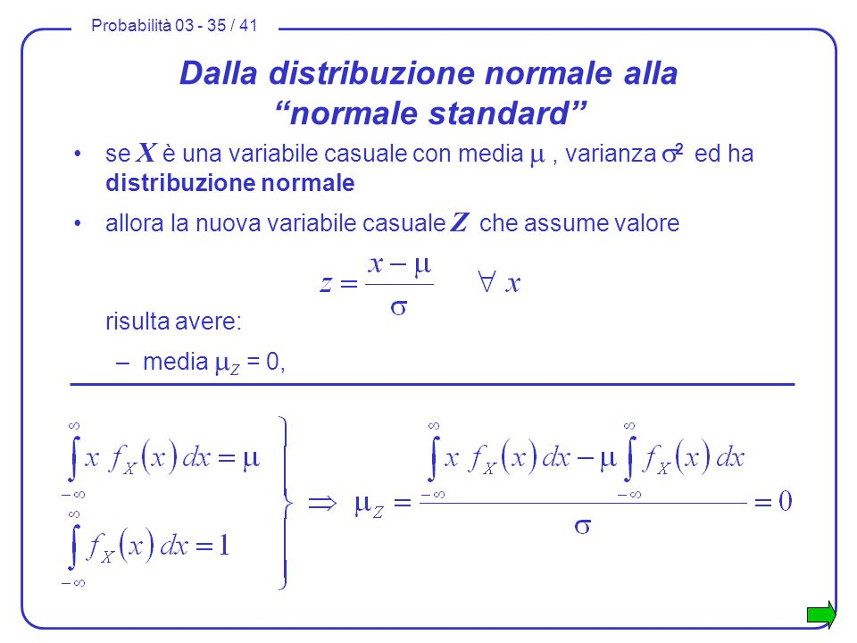 Probabilità 03 - 35 / 41 Dalla distribuzione normale alla normale standard se X è una variabile casuale con media, varianza 2 ed ha distribuzione norm