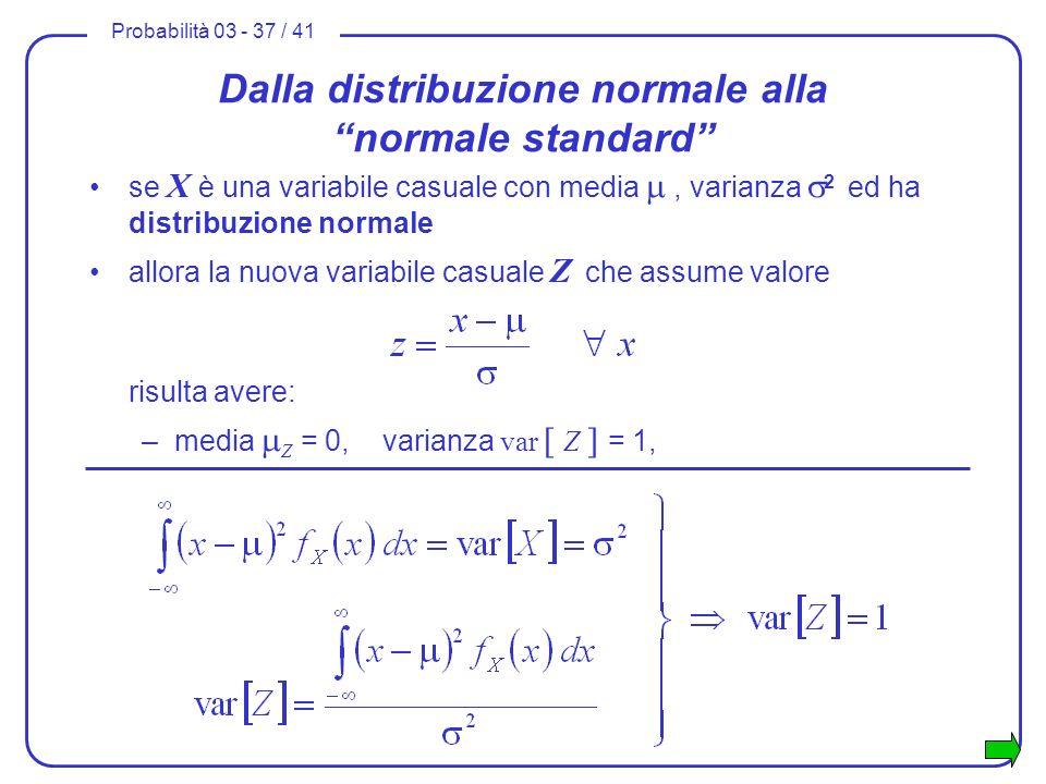 Probabilità 03 - 37 / 41 Dalla distribuzione normale alla normale standard se X è una variabile casuale con media, varianza 2 ed ha distribuzione norm