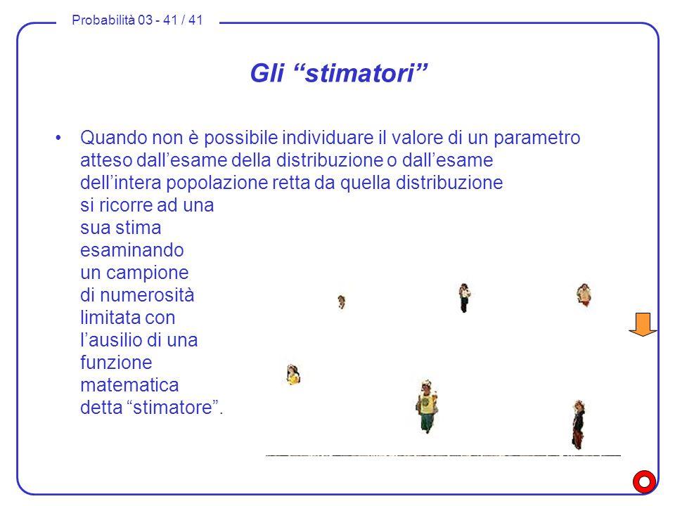 Probabilità 03 - 41 / 41 Gli stimatori Quando non è possibile individuare il valore di un parametro atteso dallesame della distribuzione o dallesame d