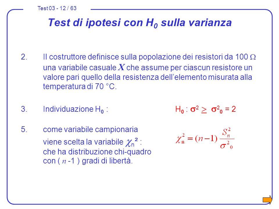 Test 03 - 12 / 63 Test di ipotesi con H 0 sulla varianza 2.Il costruttore definisce sulla popolazione dei resistori da 100 una variabile casuale X che