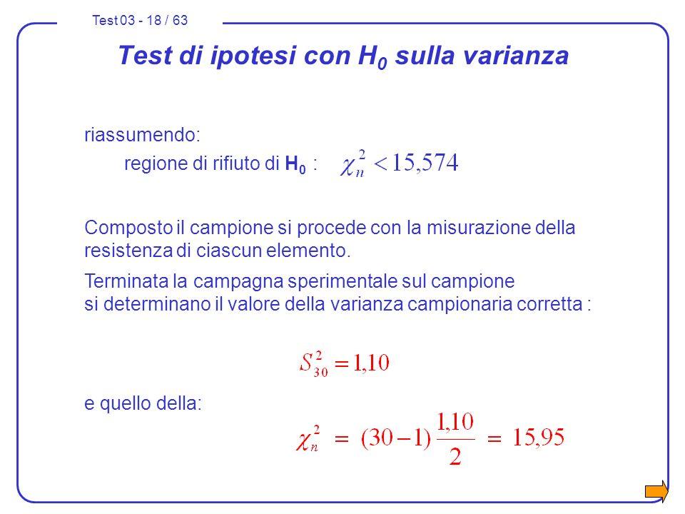 Test 03 - 18 / 63 riassumendo: regione di rifiuto di H 0 : Composto il campione si procede con la misurazione della resistenza di ciascun elemento. Te