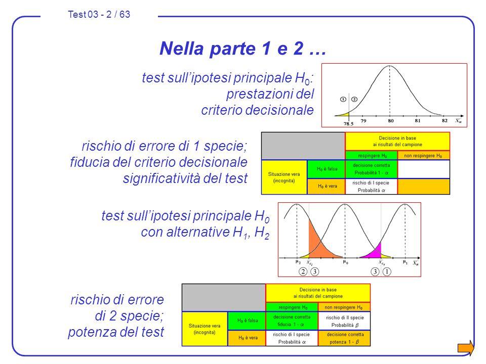 Test 03 - 2 / 63 Nella parte 1 e 2 … test sullipotesi principale H 0 con alternative H 1, H 2 test sullipotesi principale H 0 : prestazioni del criter