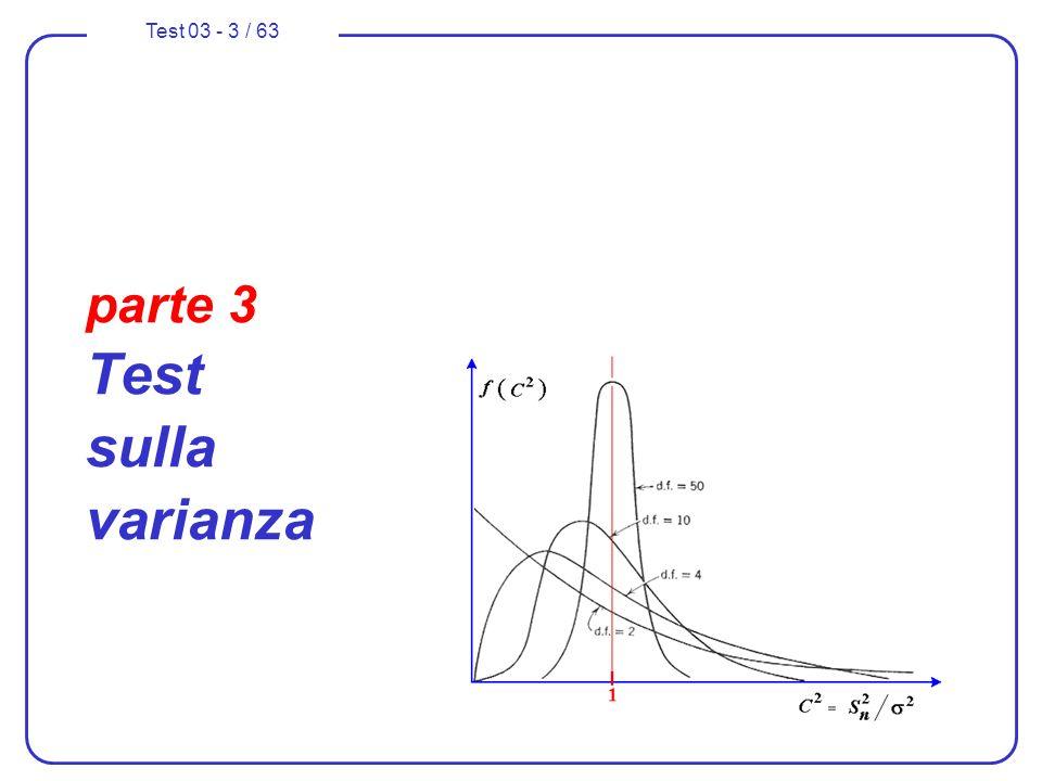 Test 03 - 14 / 63 Test di ipotesi con H 0 sulla varianza 6.fissiamo il livello accettabile per il rischio di errore di prima specie: = 0,02 ( che comporta un livello di fiducia del 98% ); 8.calcoliamo il valore critico della statistica campionaria adottata che individuano le regioni di accettazione e di rifiuto della ipotesi principale H 0 in funzione del valore di che è stato prestabilito (0,02); utilizzeremo il test unilaterale (o distribuzione ad una coda) in quanto lipotesi principale può essere rifiutata solo se la varianza della popolazione risulta minore di 2 0