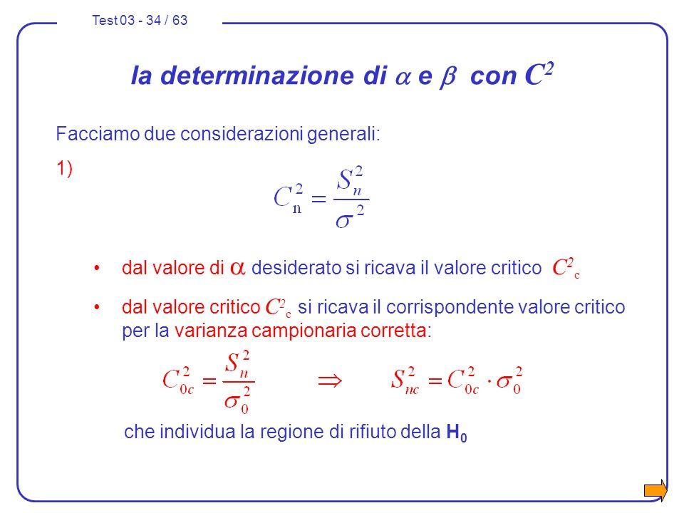 Test 03 - 34 / 63 la determinazione di e con C 2 Facciamo due considerazioni generali: 1) dal valore di desiderato si ricava il valore critico C 2 c c