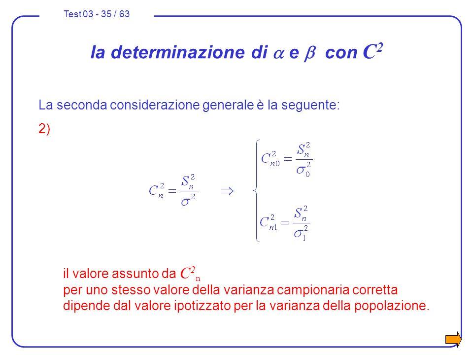 Test 03 - 35 / 63 La seconda considerazione generale è la seguente: 2) il valore assunto da C 2 n per uno stesso valore della varianza campionaria cor