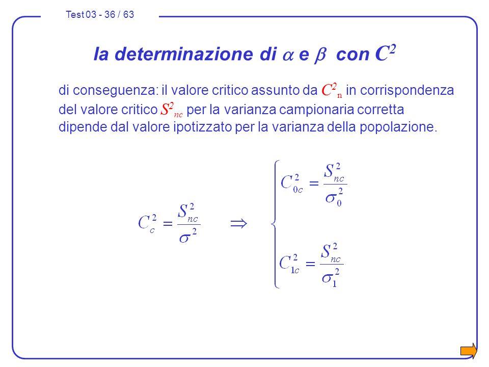 Test 03 - 36 / 63 la determinazione di e con C 2 di conseguenza: il valore critico assunto da C 2 n in corrispondenza del valore critico S 2 nc per la