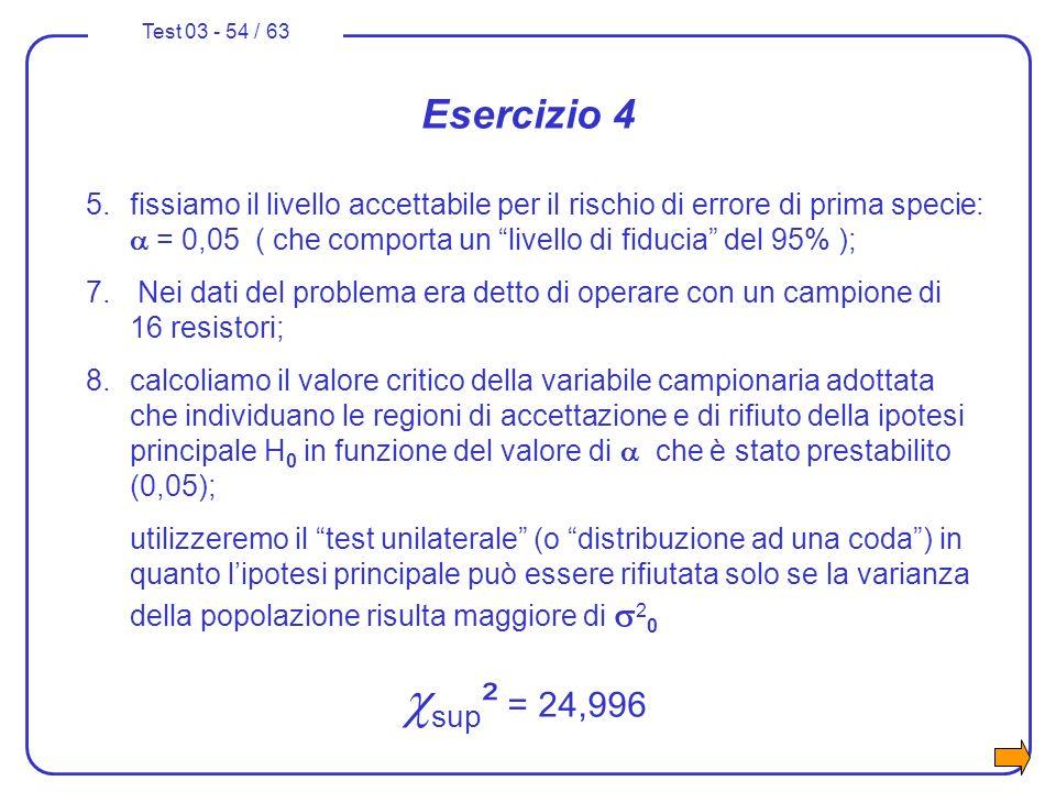 Test 03 - 54 / 63 Esercizio 4 5.fissiamo il livello accettabile per il rischio di errore di prima specie: = 0,05 ( che comporta un livello di fiducia