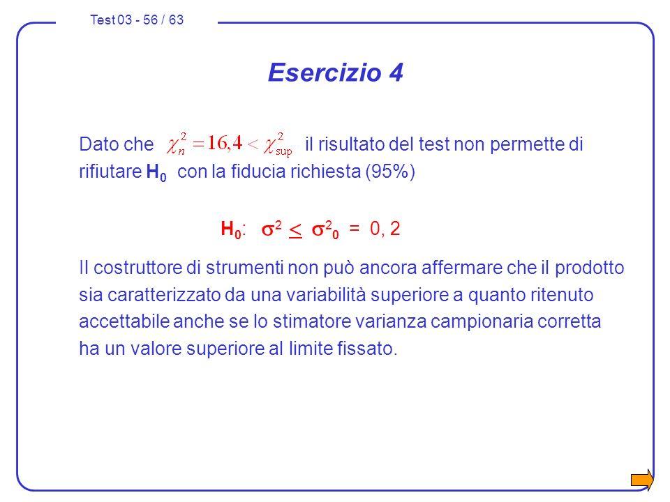 Test 03 - 56 / 63 Esercizio 4 Dato che il risultato del test non permette di rifiutare H 0 con la fiducia richiesta (95%) H 0 : 2 2 0 = 0, 2 Il costru