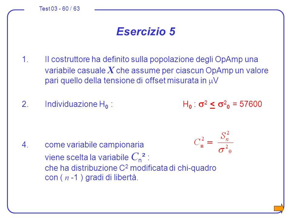 Test 03 - 60 / 63 Esercizio 5 1.Il costruttore ha definito sulla popolazione degli OpAmp una variabile casuale X che assume per ciascun OpAmp un valor