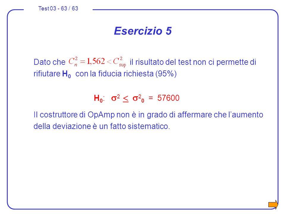 Test 03 - 63 / 63 Esercizio 5 Dato che il risultato del test non ci permette di rifiutare H 0 con la fiducia richiesta (95%) H 0 : 2 2 0 = 57600 Il co