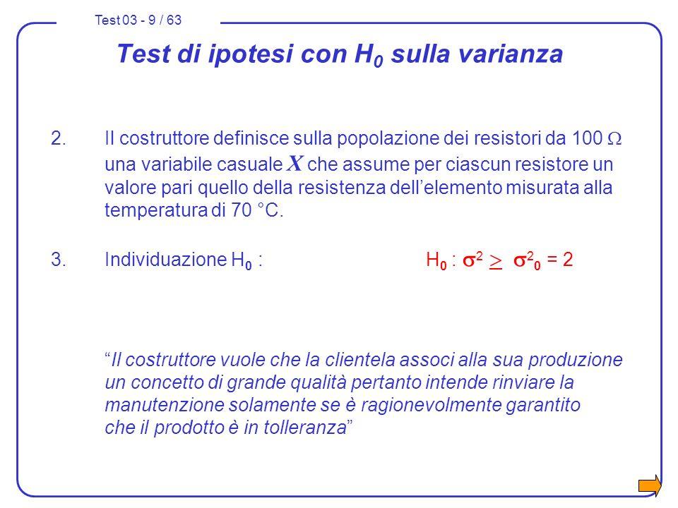 Test 03 - 40 / 63 3° test di ipotesi sulla varianza