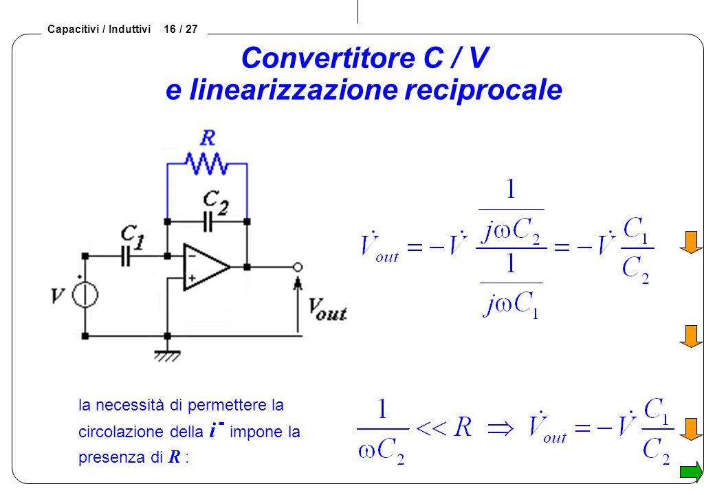 Capacitivi / Induttivi 16 / 27 Convertitore C / V e linearizzazione reciprocale la necessità di permettere la circolazione della i - impone la presenza di R :