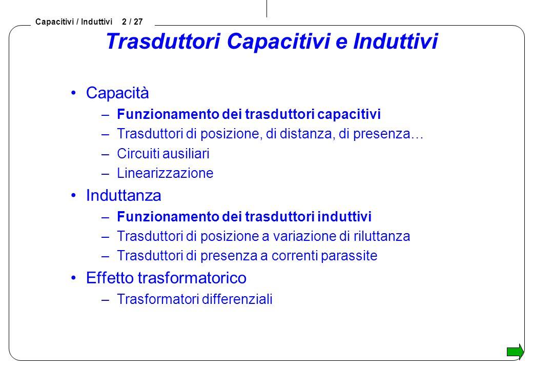 Capacitivi / Induttivi 2 / 27 Trasduttori Capacitivi e Induttivi Capacità –Funzionamento dei trasduttori capacitivi –Trasduttori di posizione, di dist