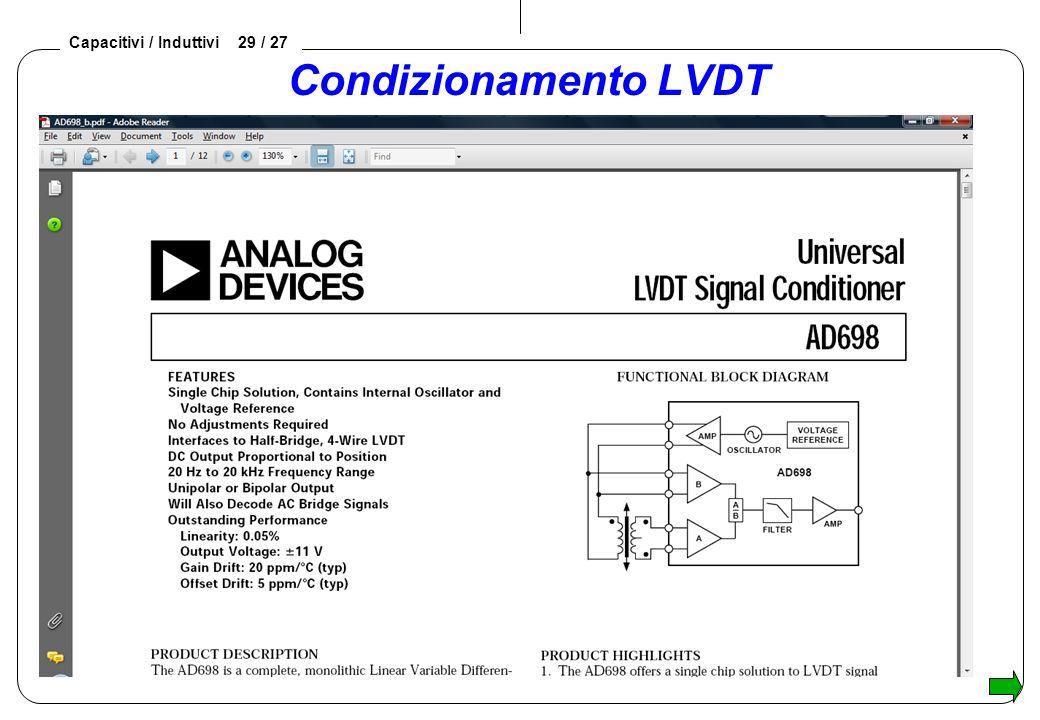 Capacitivi / Induttivi 29 / 27 Condizionamento LVDT