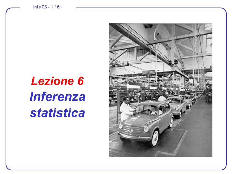 Infe 03 - 1 / 61 Lezione 6 Inferenza statistica