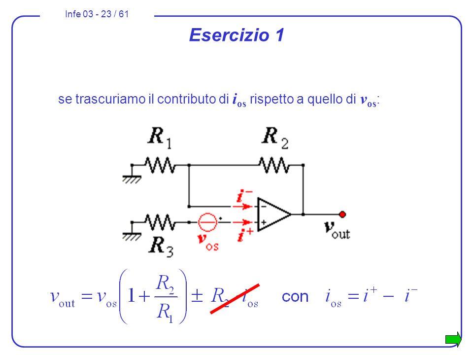 Infe 03 - 23 / 61 Esercizio 1 se trascuriamo il contributo di i os rispetto a quello di v os :