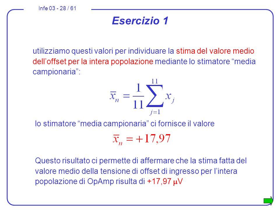 Infe 03 - 28 / 61 Esercizio 1 utilizziamo questi valori per individuare la stima del valore medio delloffset per la intera popolazione mediante lo sti