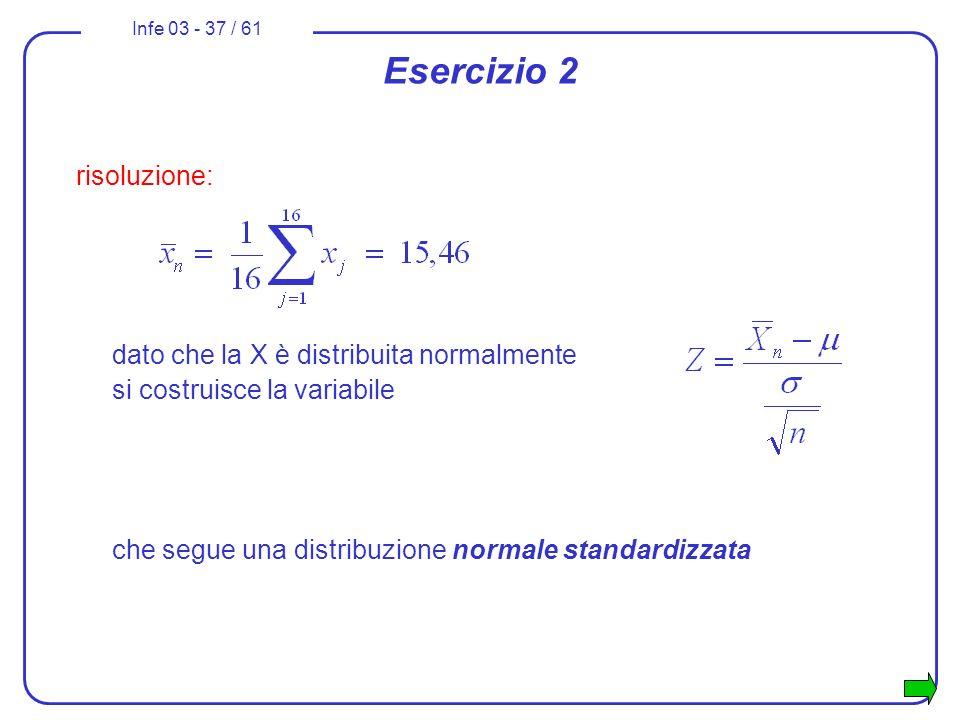 Infe 03 - 37 / 61 Esercizio 2 risoluzione: dato che la X è distribuita normalmente si costruisce la variabile che segue una distribuzione normale stan