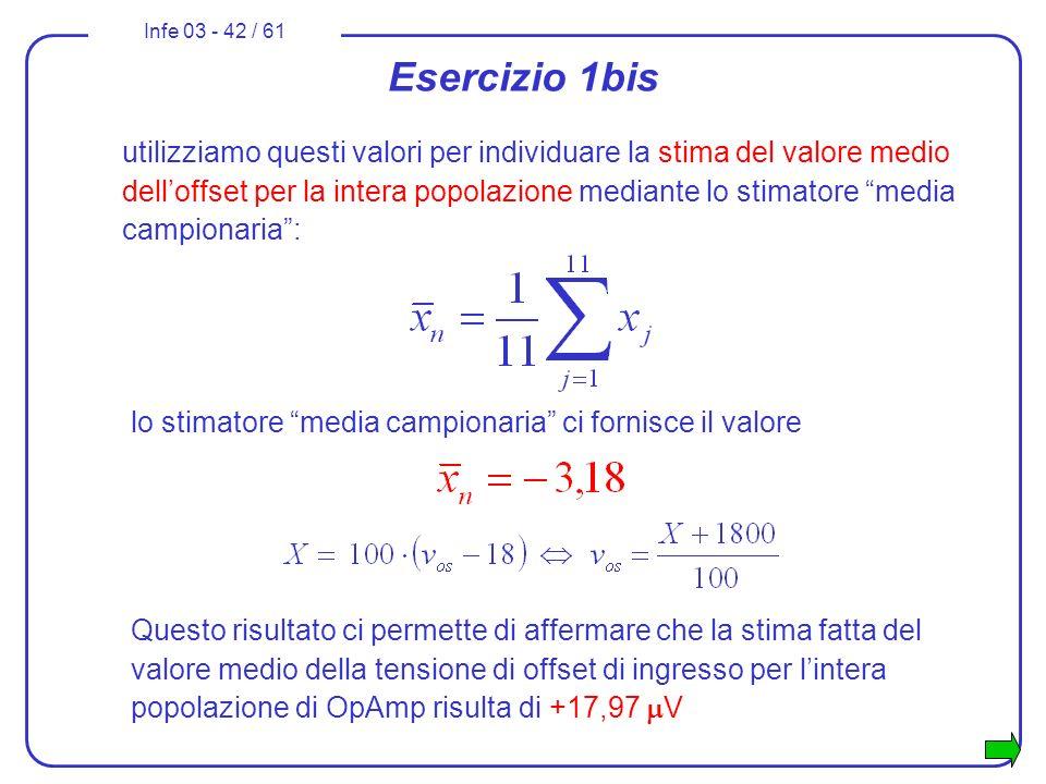 Infe 03 - 42 / 61 Esercizio 1bis utilizziamo questi valori per individuare la stima del valore medio delloffset per la intera popolazione mediante lo
