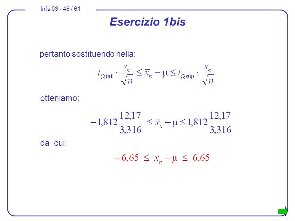Infe 03 - 46 / 61 pertanto sostituendo nella: Esercizio 1bis otteniamo: da cui: