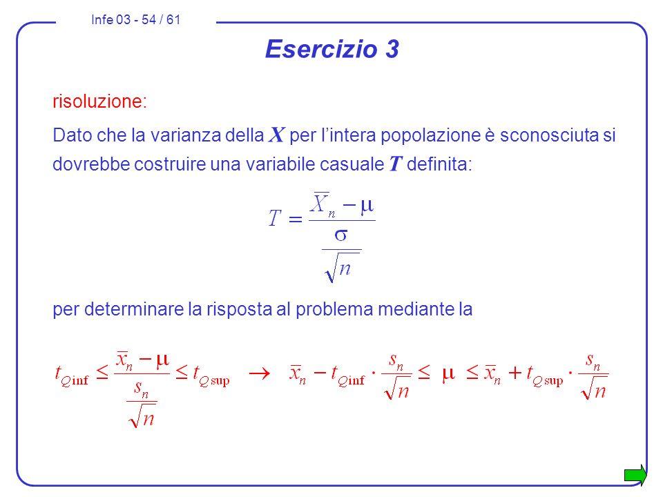 Infe 03 - 54 / 61 Esercizio 3 risoluzione: Dato che la varianza della X per lintera popolazione è sconosciuta si dovrebbe costruire una variabile casu