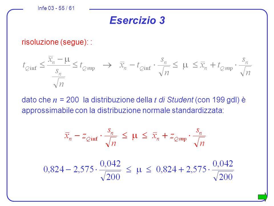 Infe 03 - 55 / 61 Esercizio 3 risoluzione (segue): : dato che n = 200 la distribuzione della t di Student (con 199 gdl) è approssimabile con la distri