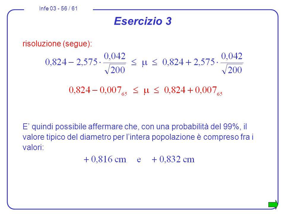 Infe 03 - 56 / 61 Esercizio 3 risoluzione (segue): E quindi possibile affermare che, con una probabilità del 99%, il valore tipico del diametro per li