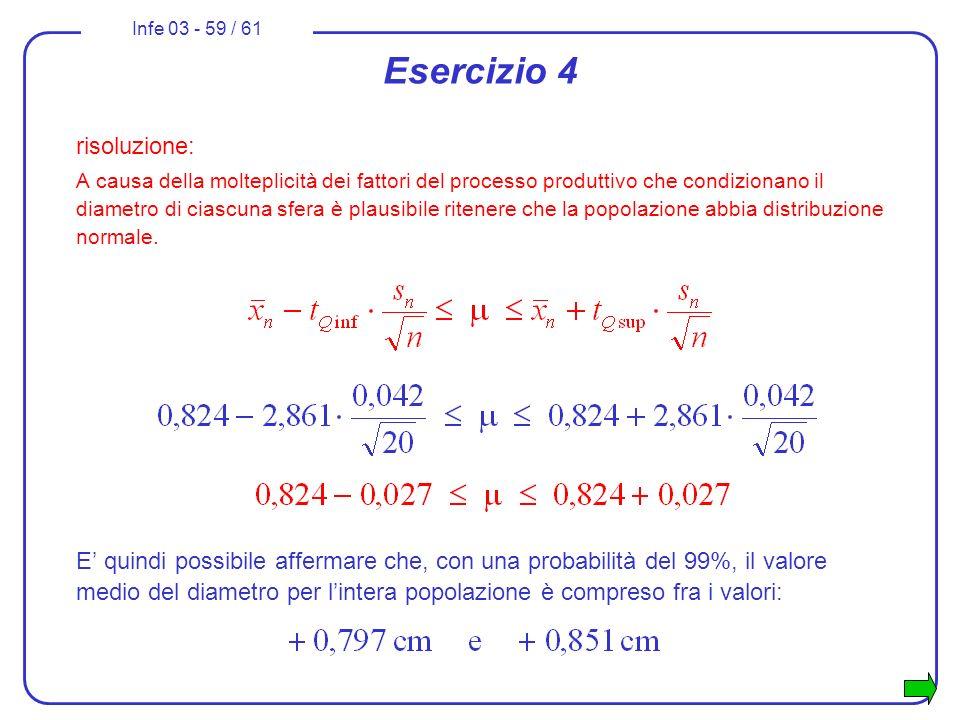 Infe 03 - 59 / 61 Esercizio 4 risoluzione: A causa della molteplicità dei fattori del processo produttivo che condizionano il diametro di ciascuna sfe