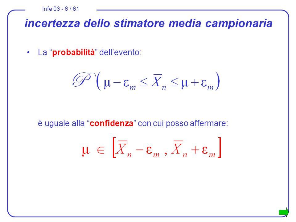 Infe 03 - 37 / 61 Esercizio 2 risoluzione: dato che la X è distribuita normalmente si costruisce la variabile che segue una distribuzione normale standardizzata