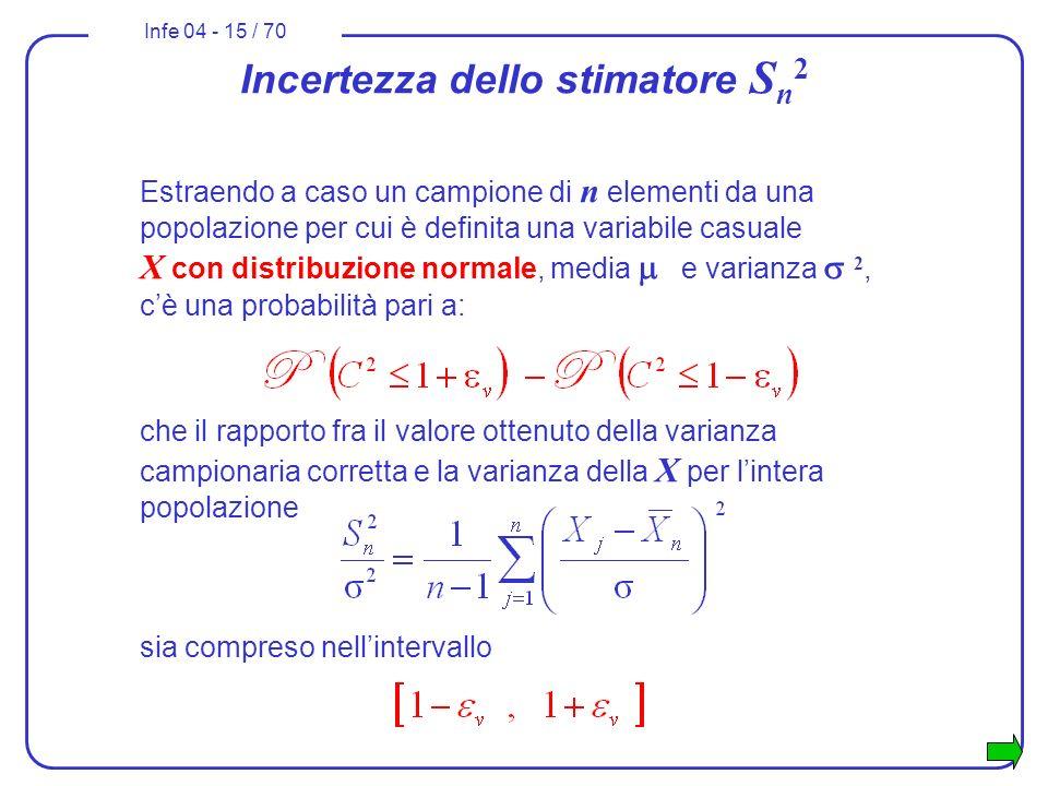 Infe 04 - 15 / 70 Estraendo a caso un campione di n elementi da una popolazione per cui è definita una variabile casuale X con distribuzione normale,