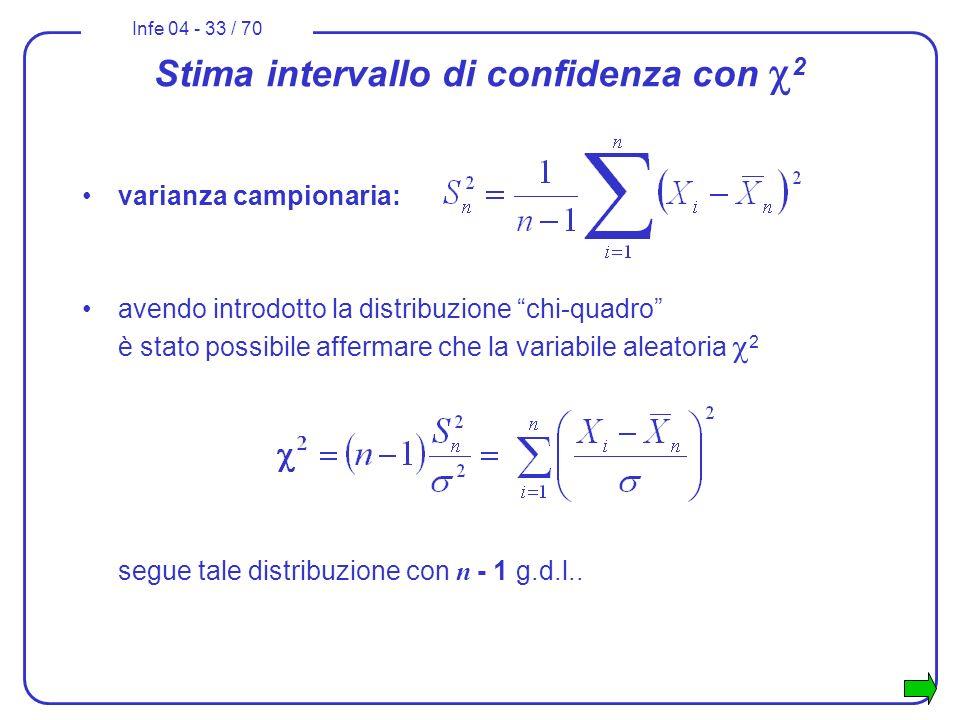 Infe 04 - 33 / 70 Stima intervallo di confidenza con 2 varianza campionaria: avendo introdotto la distribuzione chi-quadro è stato possibile affermare