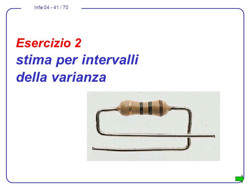 Infe 04 - 41 / 70 Esercizio 2 stima per intervalli della varianza
