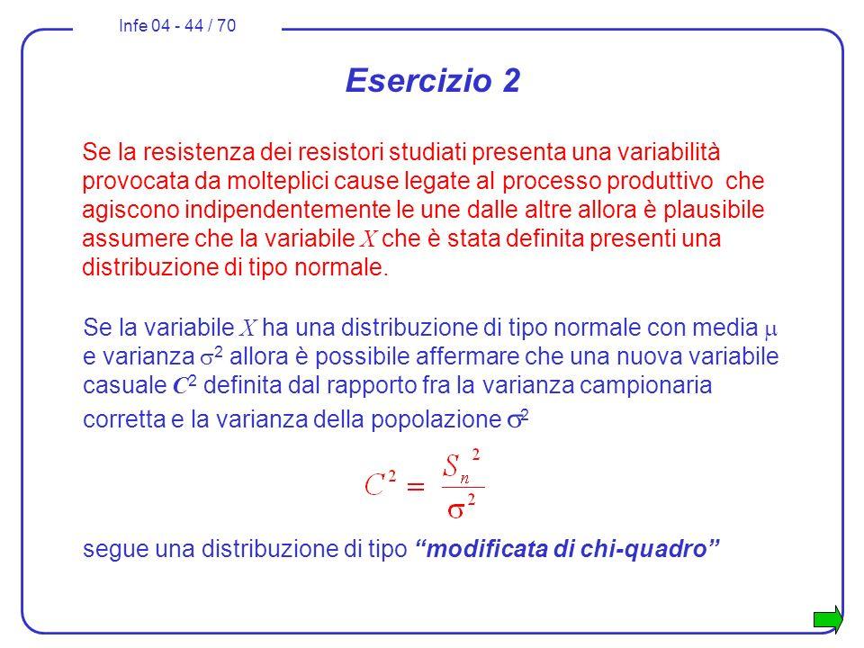 Infe 04 - 44 / 70 Se la variabile X ha una distribuzione di tipo normale con media e varianza 2 allora è possibile affermare che una nuova variabile c