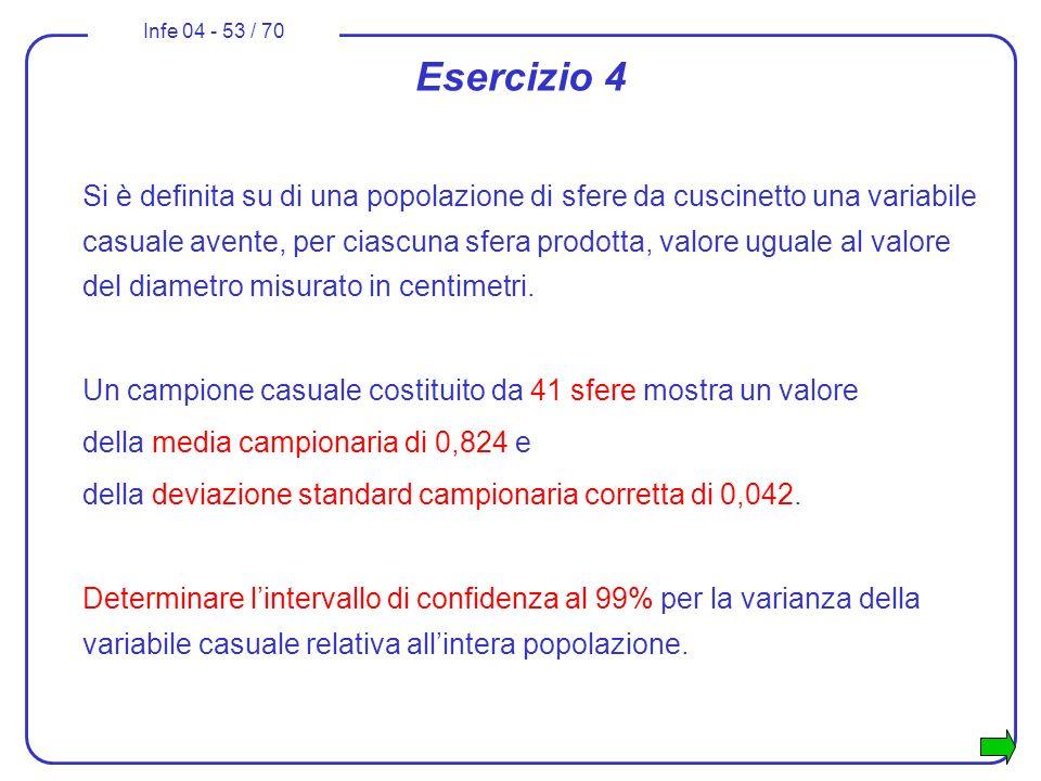 Infe 04 - 53 / 70 Esercizio 4 Si è definita su di una popolazione di sfere da cuscinetto una variabile casuale avente, per ciascuna sfera prodotta, va