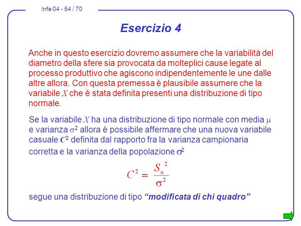 Infe 04 - 54 / 70 Se la variabile X ha una distribuzione di tipo normale con media e varianza 2 allora è possibile affermare che una nuova variabile c