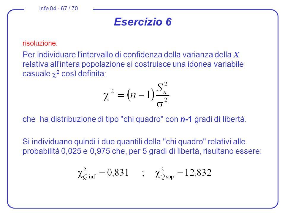 Infe 04 - 67 / 70 Esercizio 6 risoluzione: Per individuare l'intervallo di confidenza della varianza della X relativa all'intera popolazione si costru