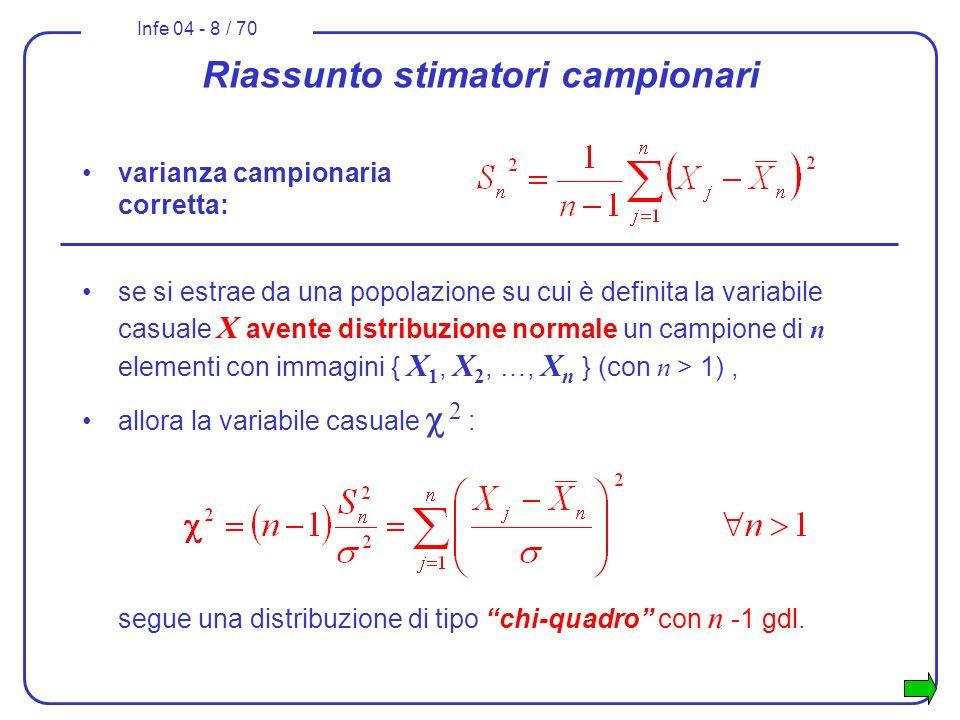 Infe 04 - 8 / 70 Riassunto stimatori campionari varianza campionaria corretta: se si estrae da una popolazione su cui è definita la variabile casuale