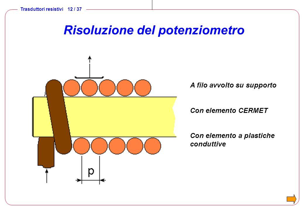 Trasduttori resistivi 13 / 37 Caratteristiche dei potenziometri Linearità Risoluzione Sensibilità Vita Resistenza di uscita Risposta al gradino Banda passante