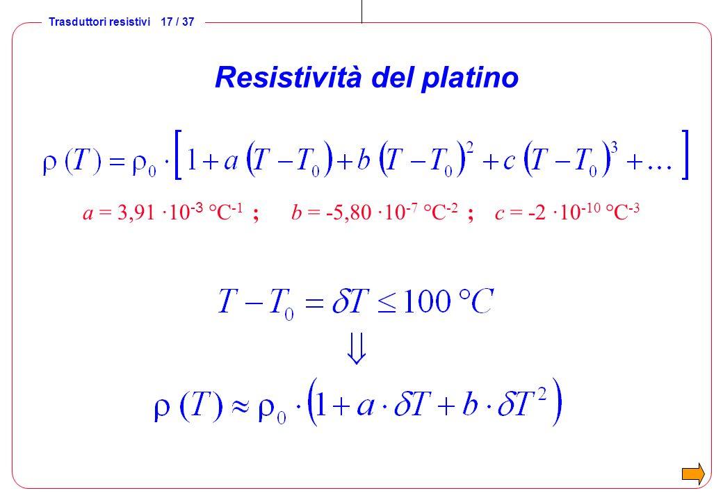 Trasduttori resistivi 17 / 37 Resistività del platino a = 3,91 ·10 -3 °C -1 ; b = -5,80 ·10 -7 °C -2 ; c = -2 ·10 -10 °C -3