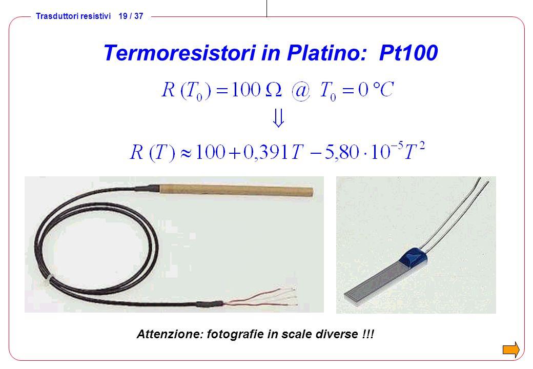 Trasduttori resistivi 19 / 37 Termoresistori in Platino: Pt100 Attenzione: fotografie in scale diverse !!!