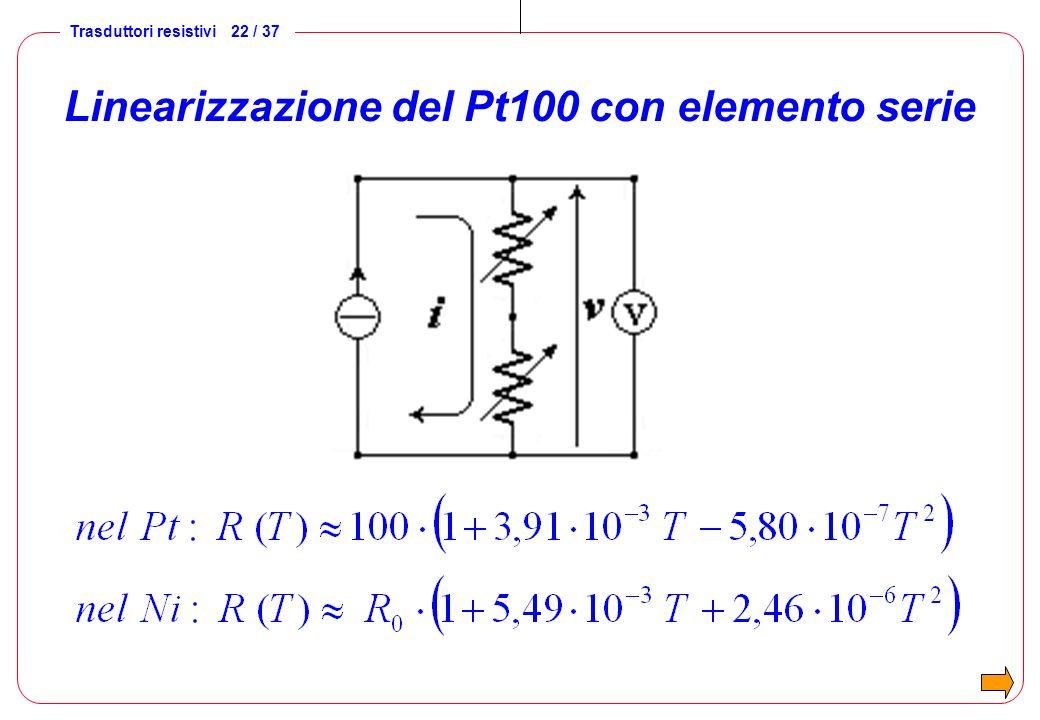 Trasduttori resistivi 22 / 37 Linearizzazione del Pt100 con elemento serie
