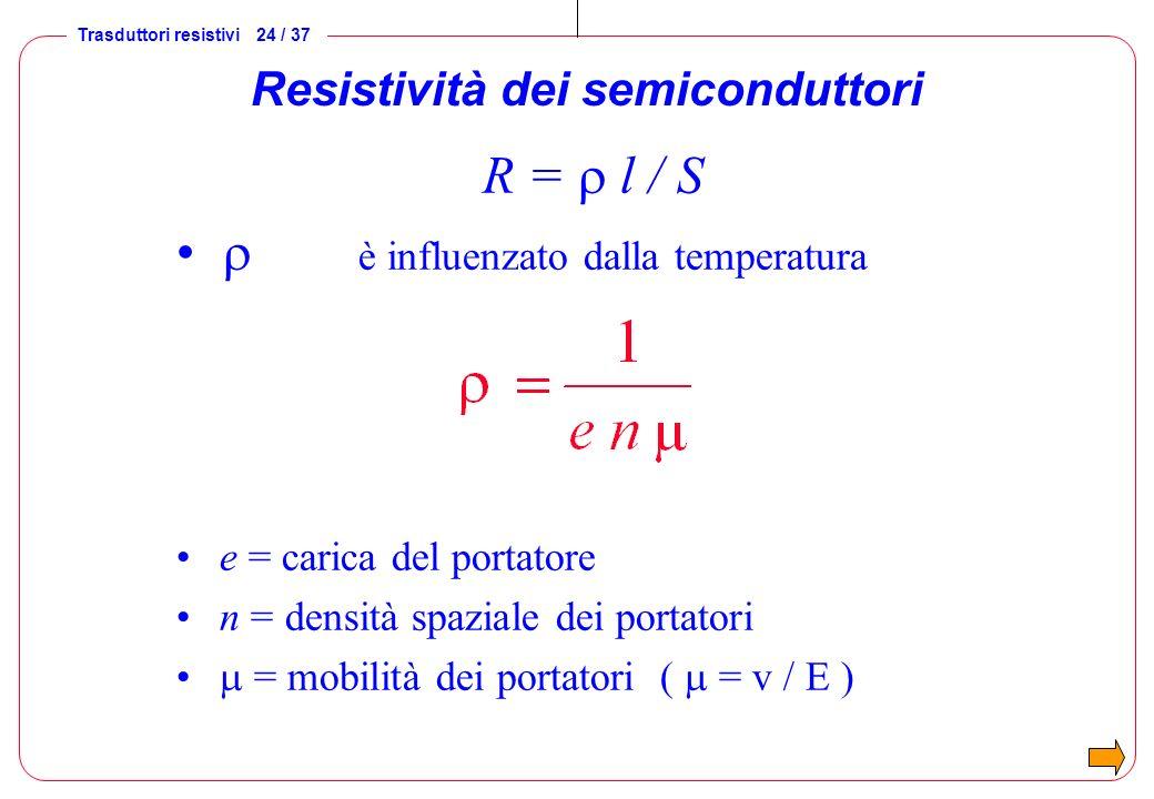 Trasduttori resistivi 24 / 37 Resistività dei semiconduttori R = l / S è influenzato dalla temperatura e = carica del portatore n = densità spaziale d