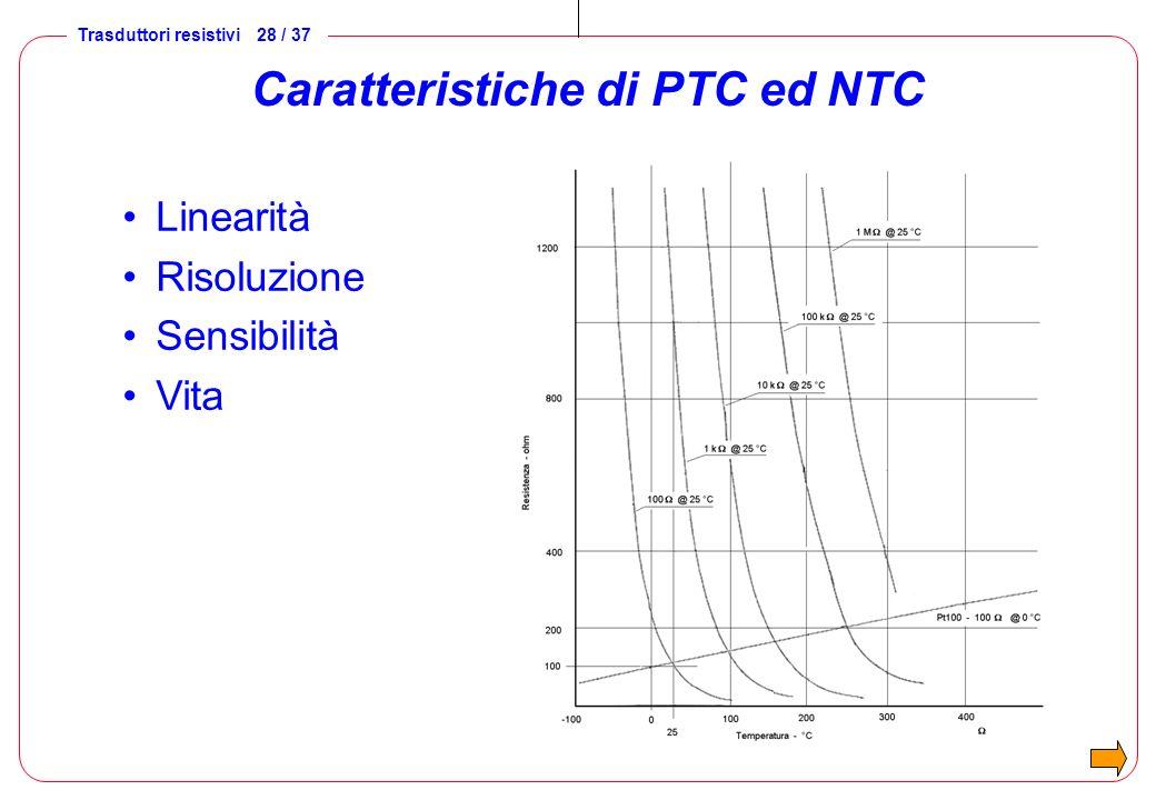 Trasduttori resistivi 28 / 37 Caratteristiche di PTC ed NTC Linearità Risoluzione Sensibilità Vita
