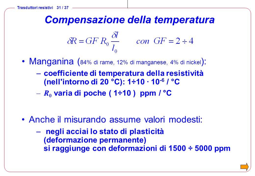 Trasduttori resistivi 32 / 37 Compensazione della temperatura supponiamo di dover trasdurre una deformazione di 500 ppm ( 500 microstrain) con un estensimetro che ha GF = 2 supponiamo poi che la temperatura subisca una variazione di 20 °C e che il TCO del materiale sia di 5 ppm/°C !