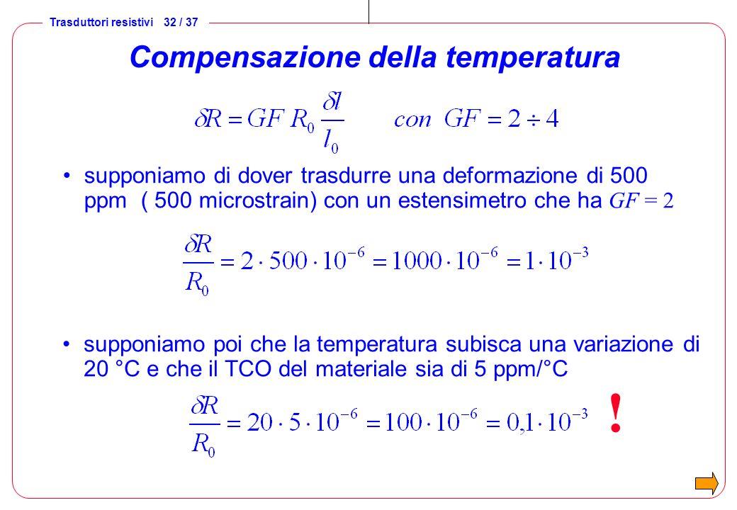 Trasduttori resistivi 32 / 37 Compensazione della temperatura supponiamo di dover trasdurre una deformazione di 500 ppm ( 500 microstrain) con un este